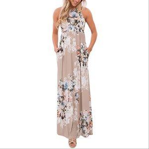 Sleeveless Floral Print Maxi Summer Dress
